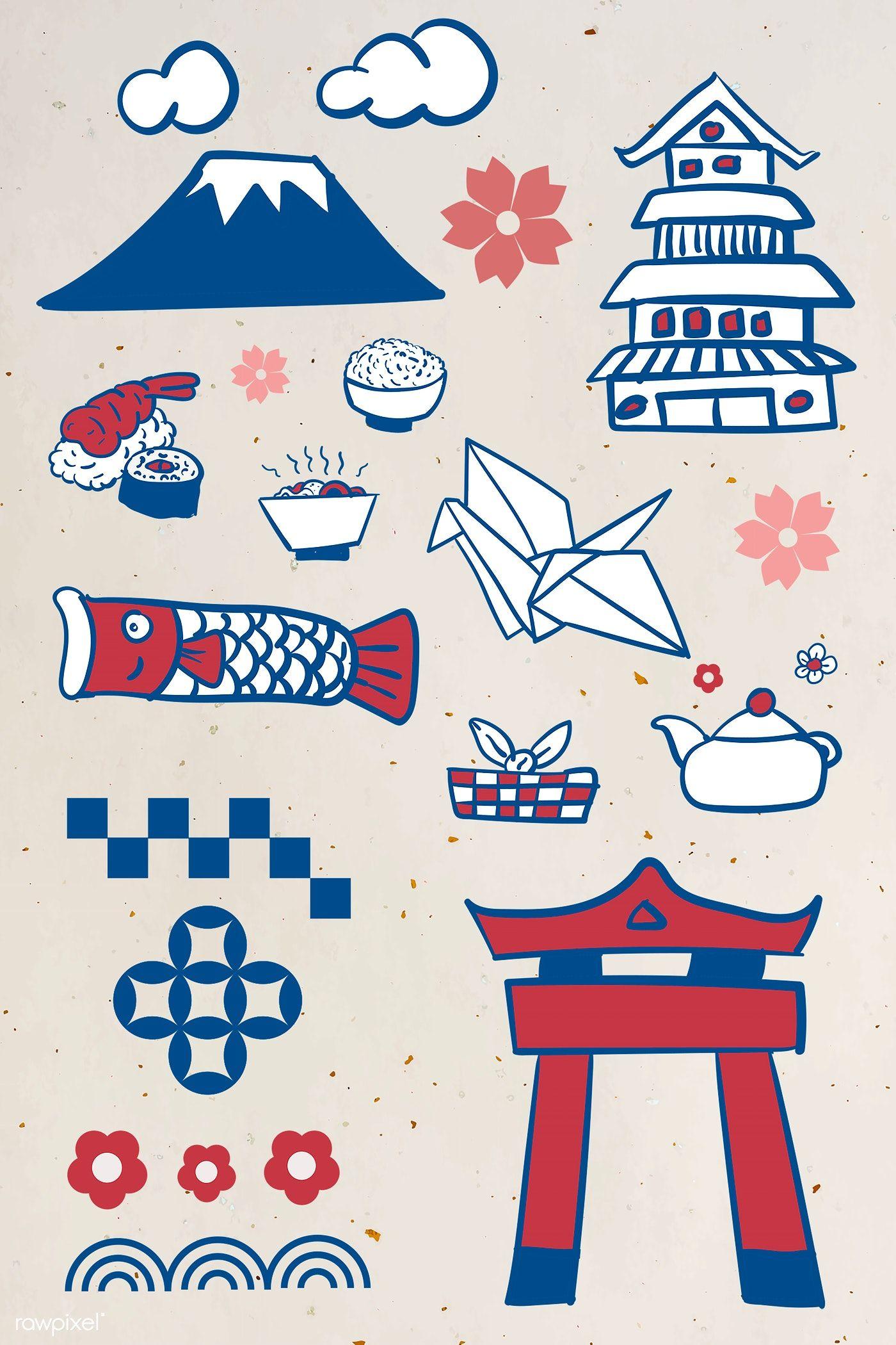 Japanese culture element set template illustration free