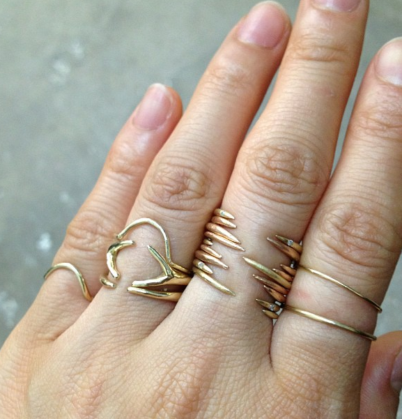 Stacked #rose #gold open rings with tiny diamonds set in the points! #wwake