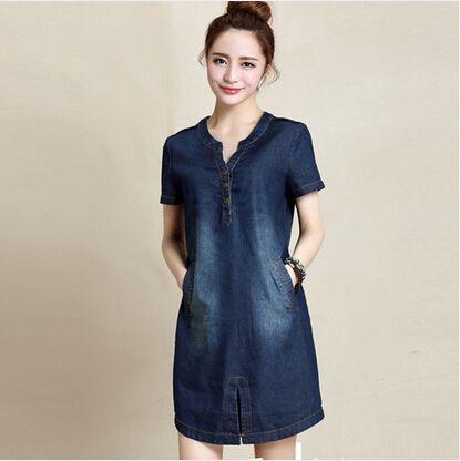 e3917bb02 M ~ XXXL mujeres vestido de verano 2015 nuevas llegadas de algodón de  mezclilla azul jeans vestido para las mujeres con cuello en v gran tamaño  vestidos ...