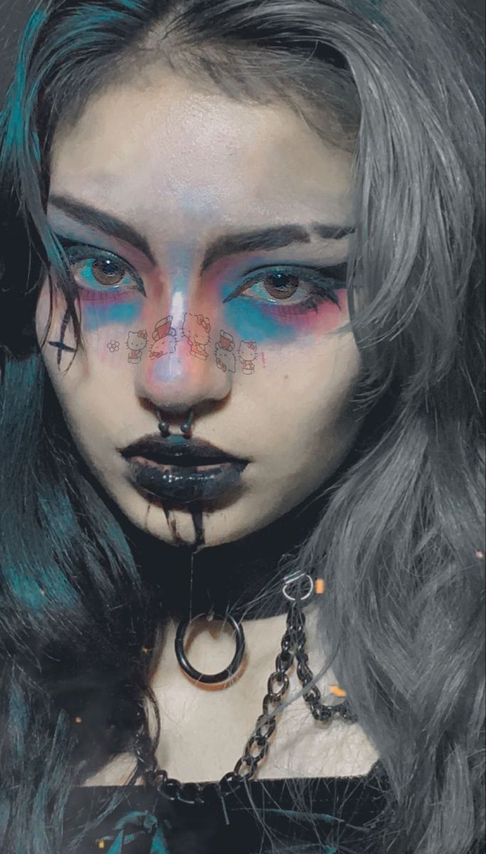 #tradgoth #alternative #altgirl #emo #sanrio #goth #mallgoth #septumpiercing #splitdye