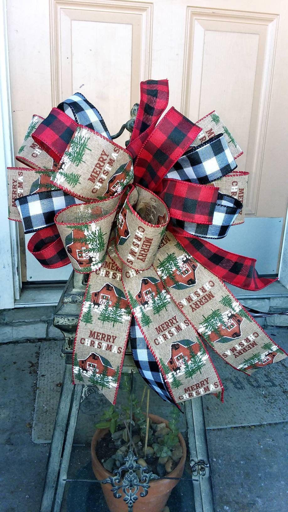 Whimsical Farmhouse Barn Wreath Bow Country Christmas