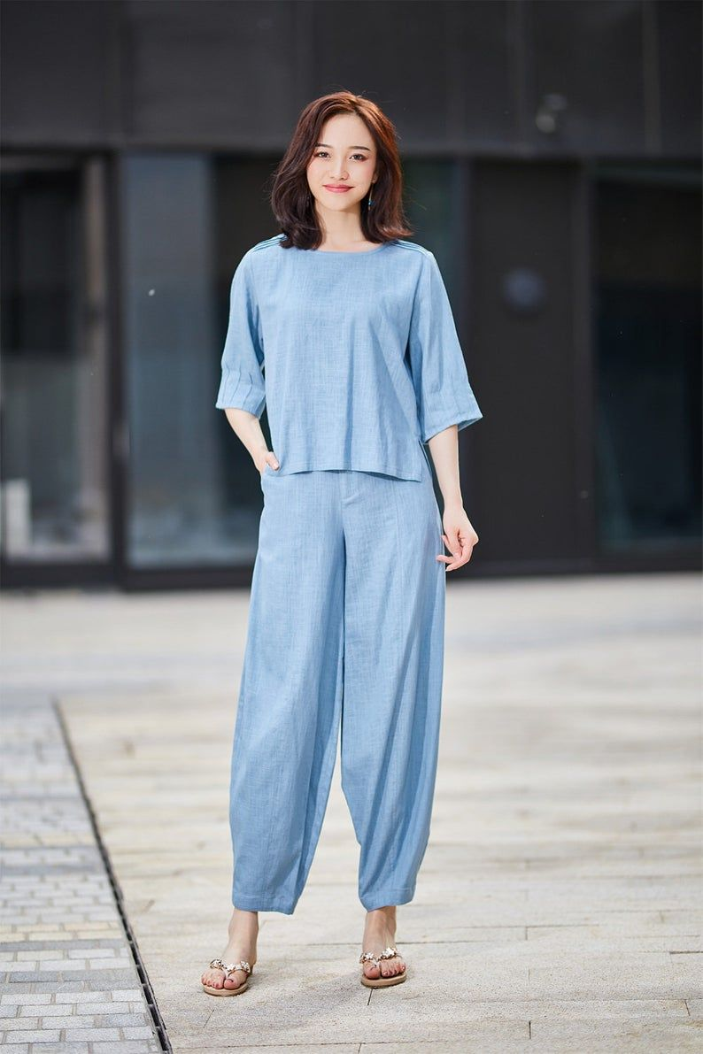 Blue linen pant summer pant loose fitting pant womens