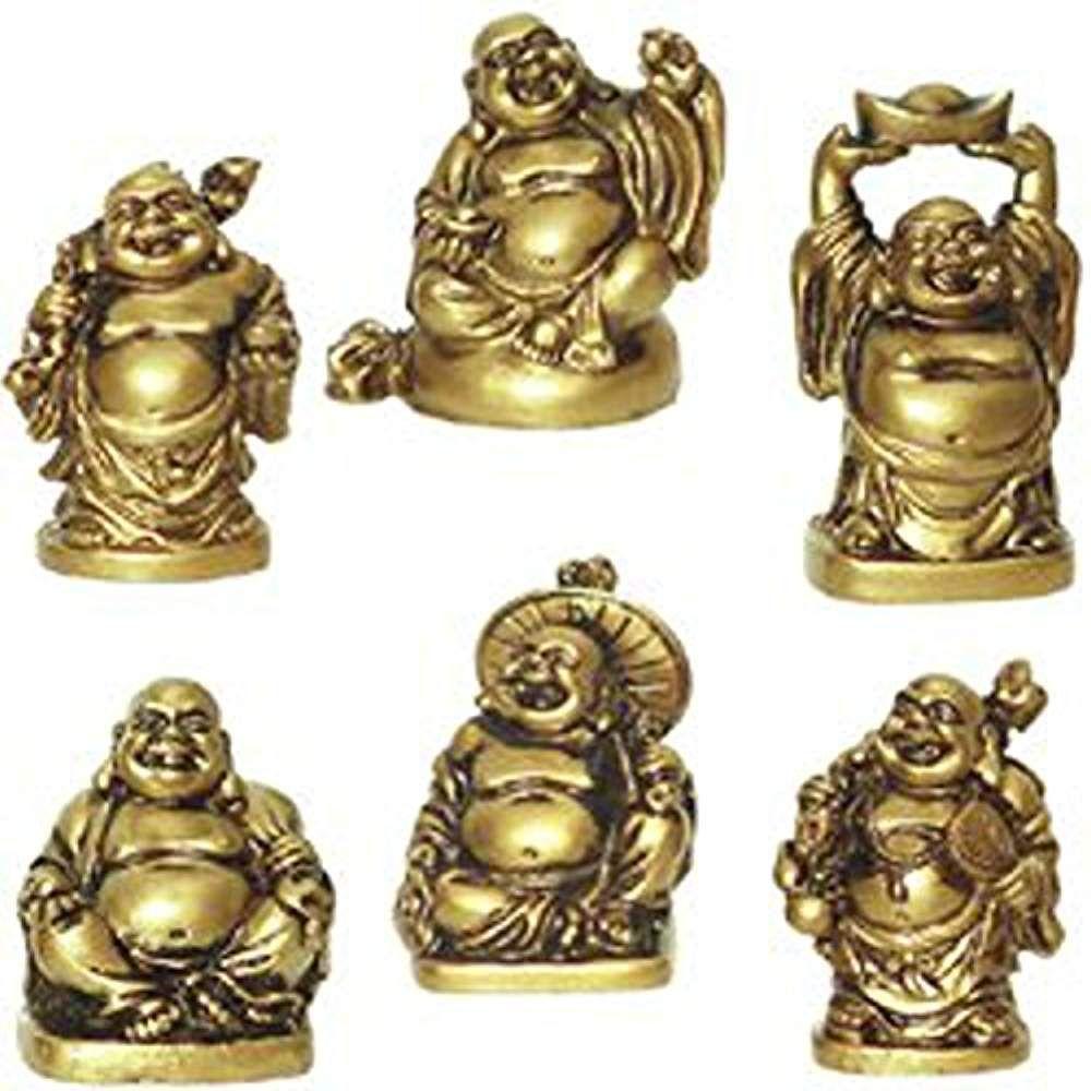 6 Figurines Bouddha Rieur Voeux De Chance Et Bonheur Statue