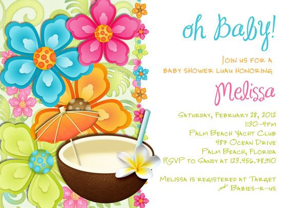 Luau Baby Shower Invitation Tropical Hawaiian Hula Party - free baby shower invitations templates printables