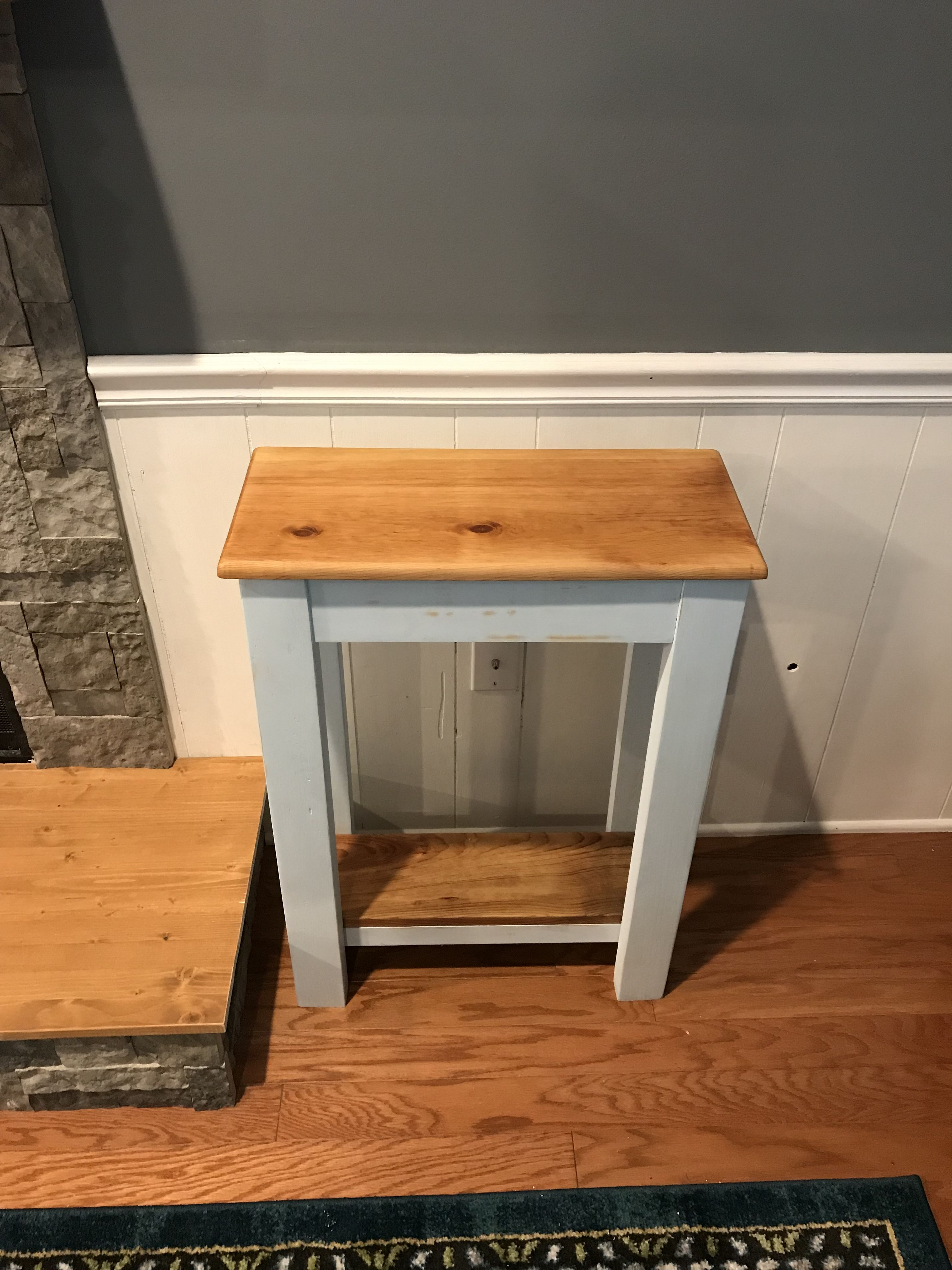 Natural Tops And Light Blue Entryway Table From Waccamaw Woodworks Entryway Tables Home Decor