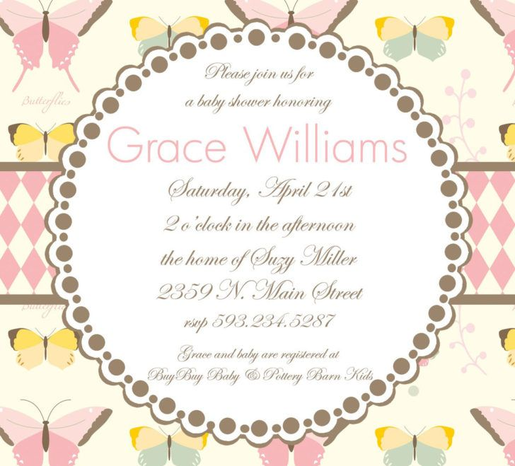 Cool Butterfly Themed Baby Shower Invitation Template Design