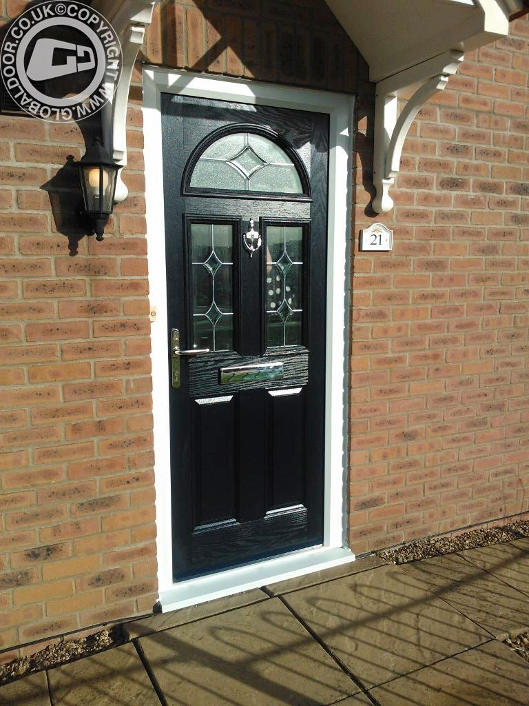Black 2 Panel Square 1 Arch Global Composite Door 4
