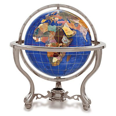 "Alexander Kalifano Gemstone Globe with Opalite Ocean and Commander 3-Leg Table Stand Size: 4"" Diameter, Finish: Antique Silver, Color: Caribbean Blue"
