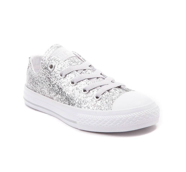 56df374150ed95 Women s Silver and White Converse All Star Sneakers Sparkly Wedding Shoes