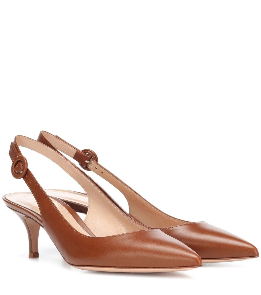 03d85d0a683a Gianvito Rossi - Anna leather slingback pumps - Gianvito Rossi s Anna pumps  are updated in sleek chestnut brown leather this season.
