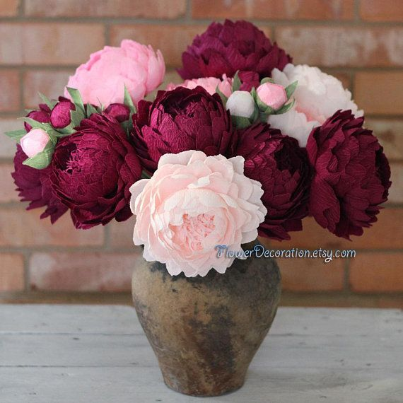 Bouquet of paper flowers, high quality crepe paper peonies - choose ...