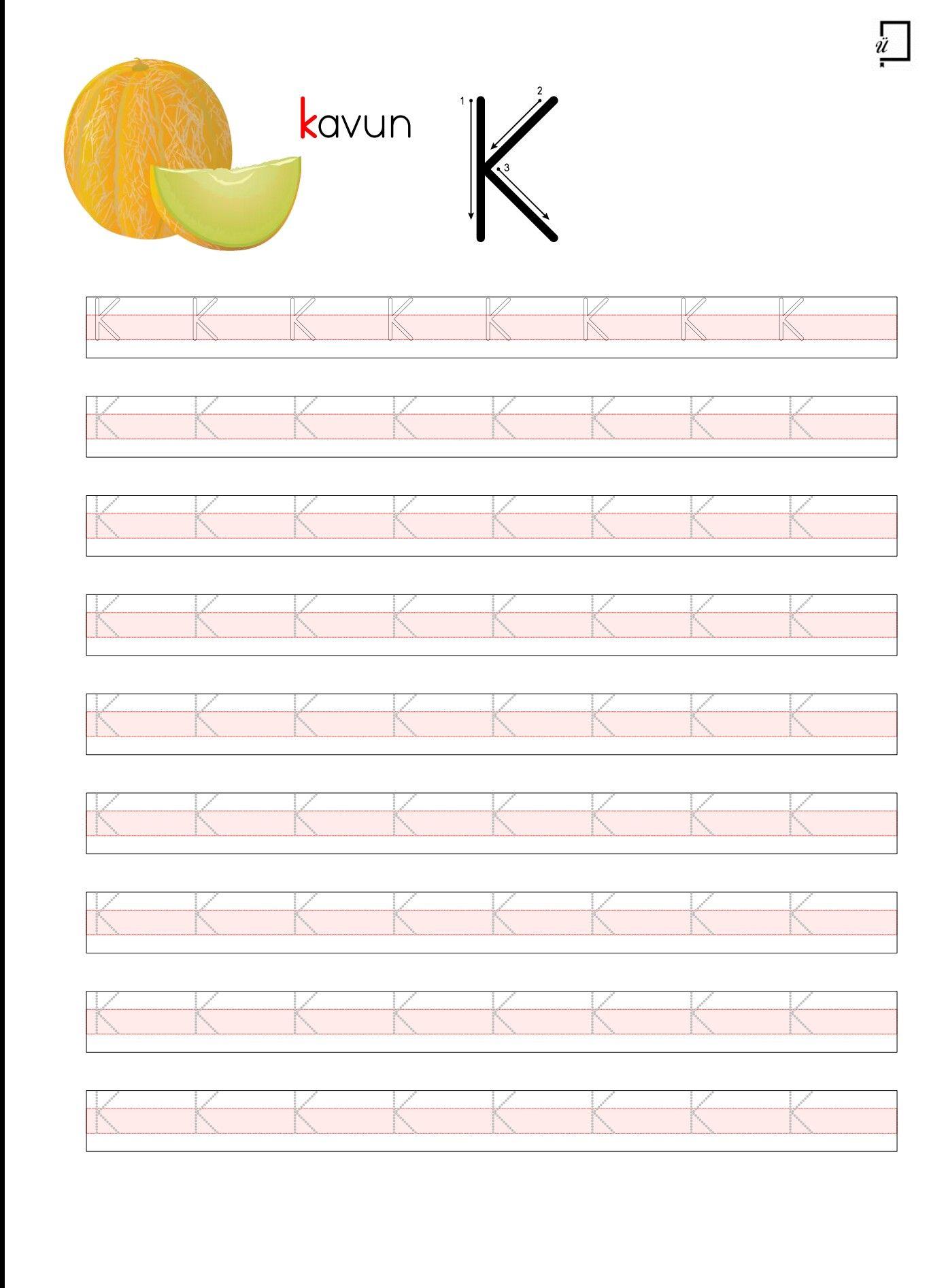 Duz Yazi Buyuk K Harfi Yazilis Yonu Alfabe Calisma Sayfalari Harfleri Ogreniyorum 3 Sinif Matematik