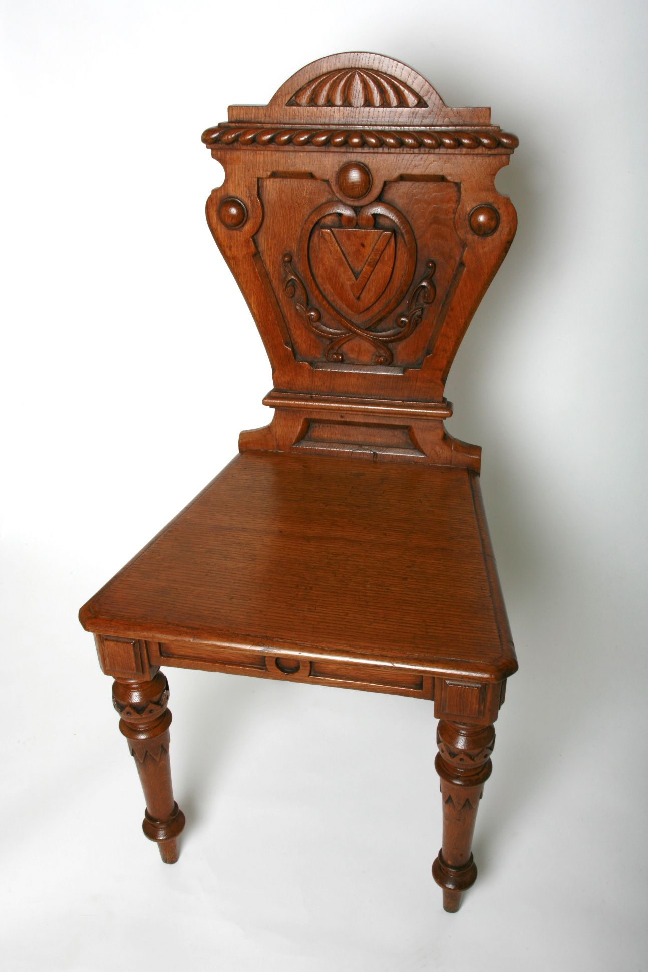 Antique English Pair Of Hall Chairs With Carved Quot V Quot Detail