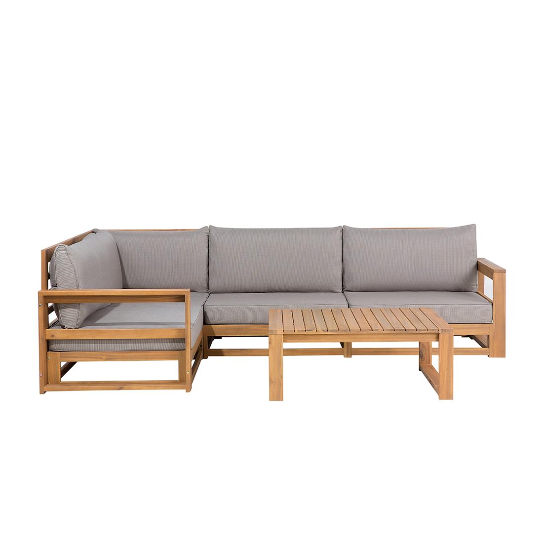 Zestaw Mebli Ogrodowych Jasne Drewno Akacjowe Naroznik Szare Poduszki Stolik Kawowy Beliani Outdoor Sofa Sets Contemporary Outdoor Sofas Patio Furniture Deals