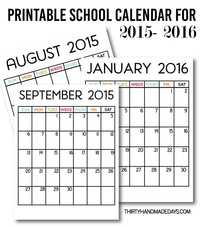 school calendar printable