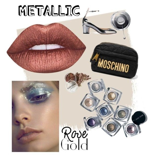"""metallic"" by stylesmanda on Polyvore featuring beauty, Lime Crime, Bobbi Brown Cosmetics, Moschino and Valentino"