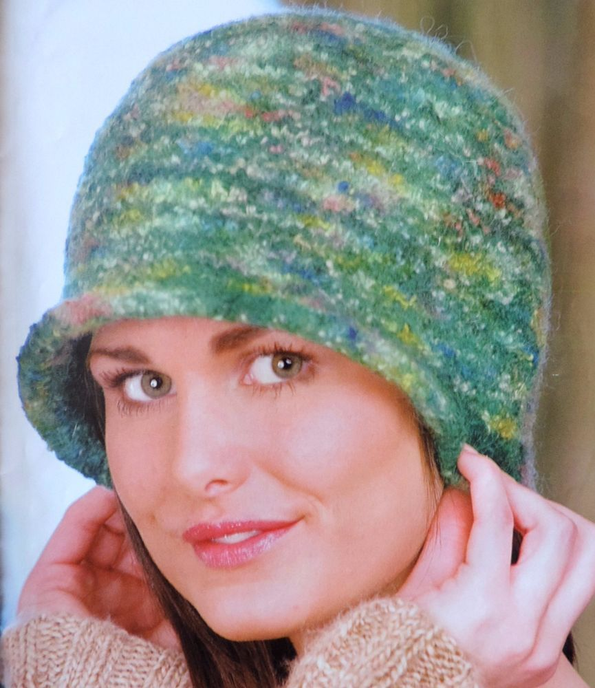 Knitting Pattern Ladies FELTED & FLUFFY CLOCHE HATS Two Variations ...