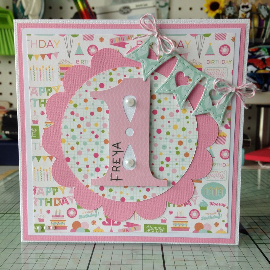 First birthday card using Cricut Cindy Lou First