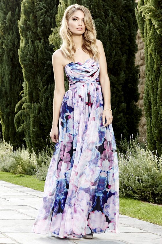 fad26af2043 Bariano Special Effects Purple Floral Print Maxi Dress