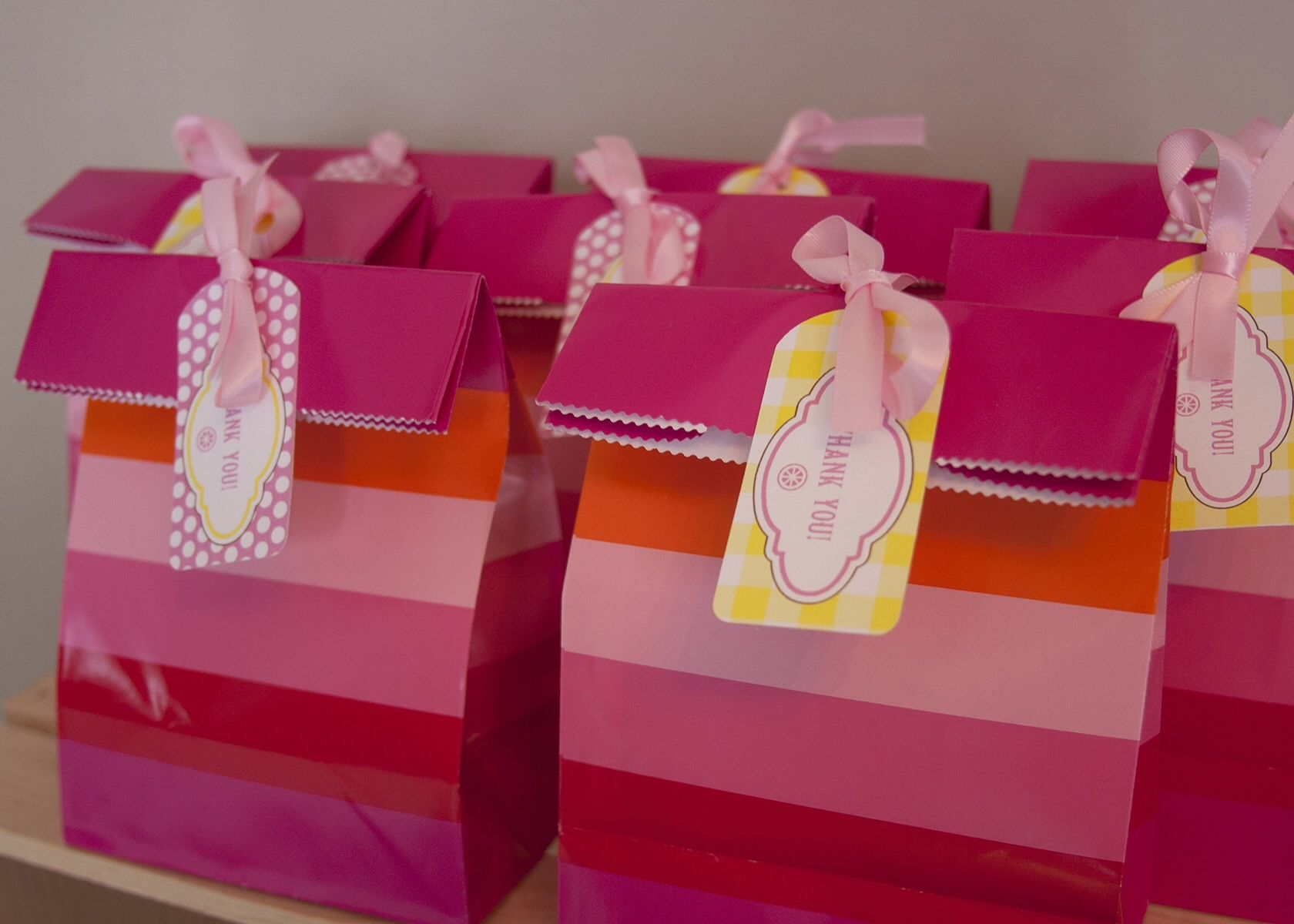 Gemma\'s 1st Birthday - Pink Lemonade Party - Favor Bags with Thank ...