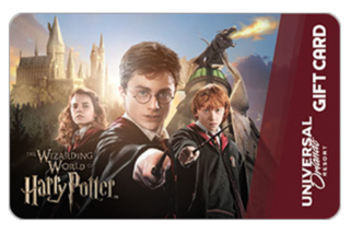 A Universal Orlando Resort gift card featuring an image of Harry ...