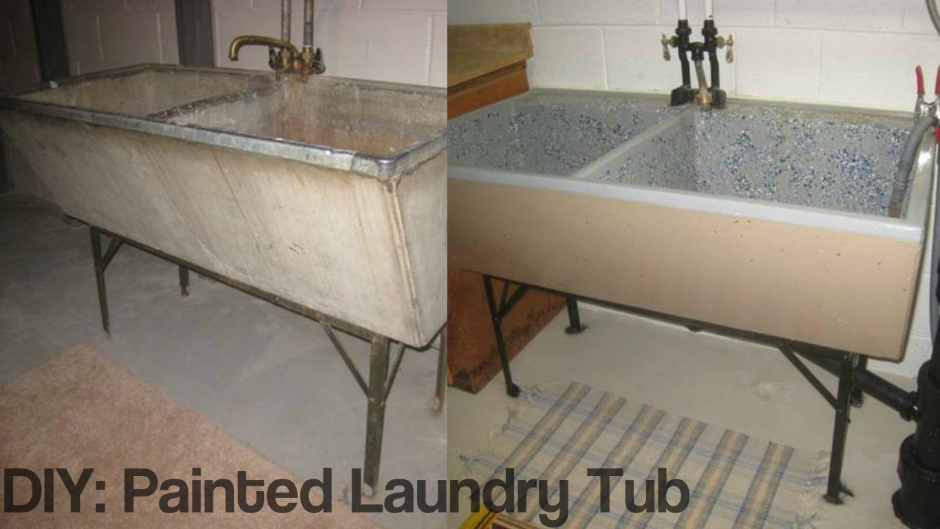 Diy Project Painted Laundry Tub Laundry Tubs Basement Laundry