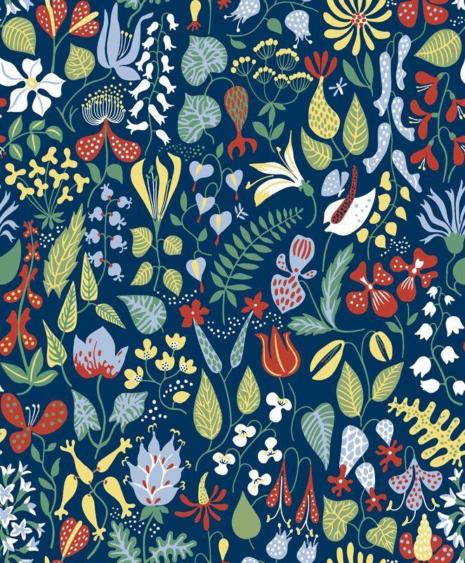 Moderni Mummola Wallpapers By Scandinavian Designers Scandinavian Wallpaper Floral Wallpaper Floral Abstract Pattern