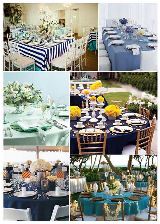 Tables bleu mer | Sea side wedding ideas | Décoration mariage mer