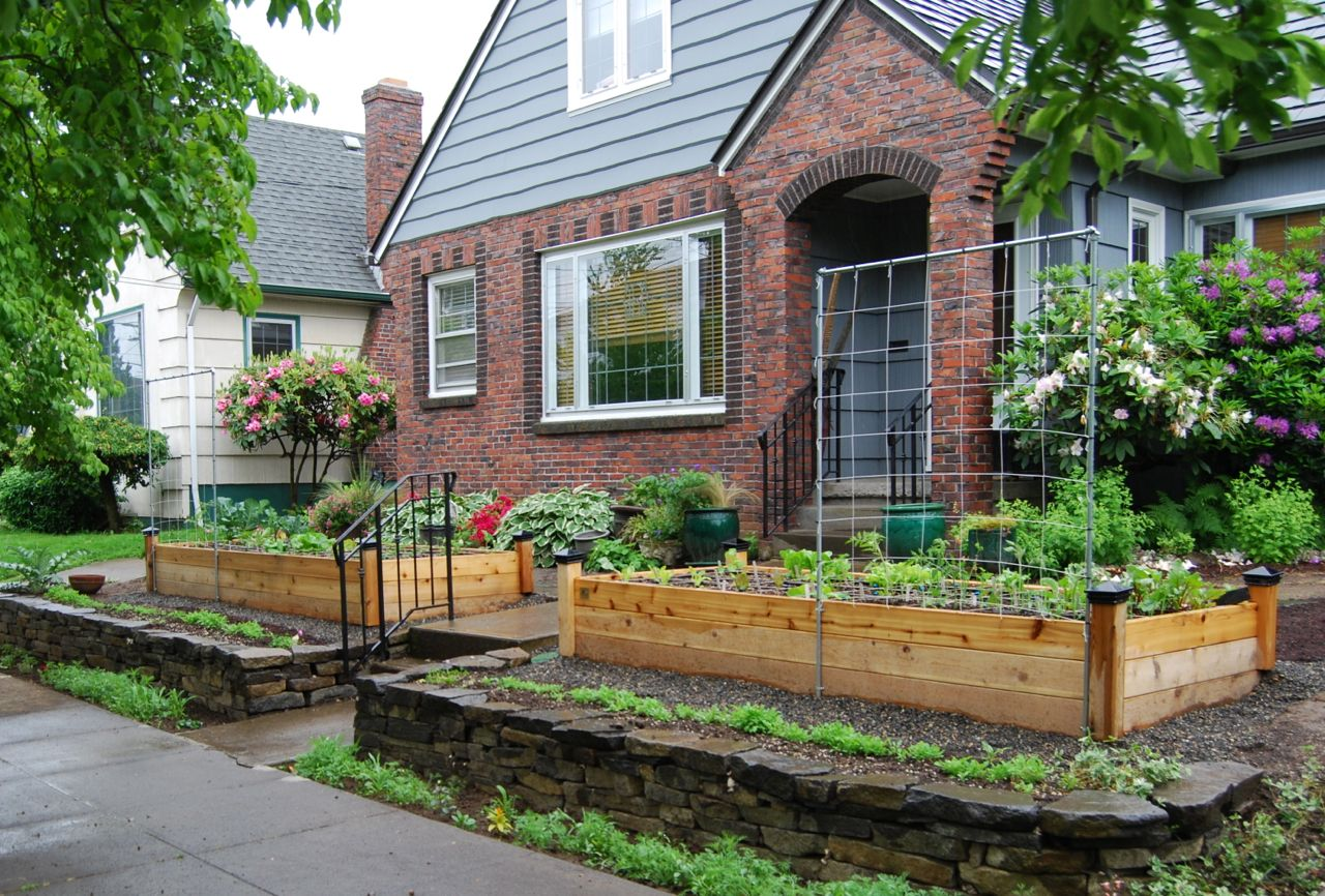 A New Front Yard Garden For Bonnie Features Raised Beds With Black