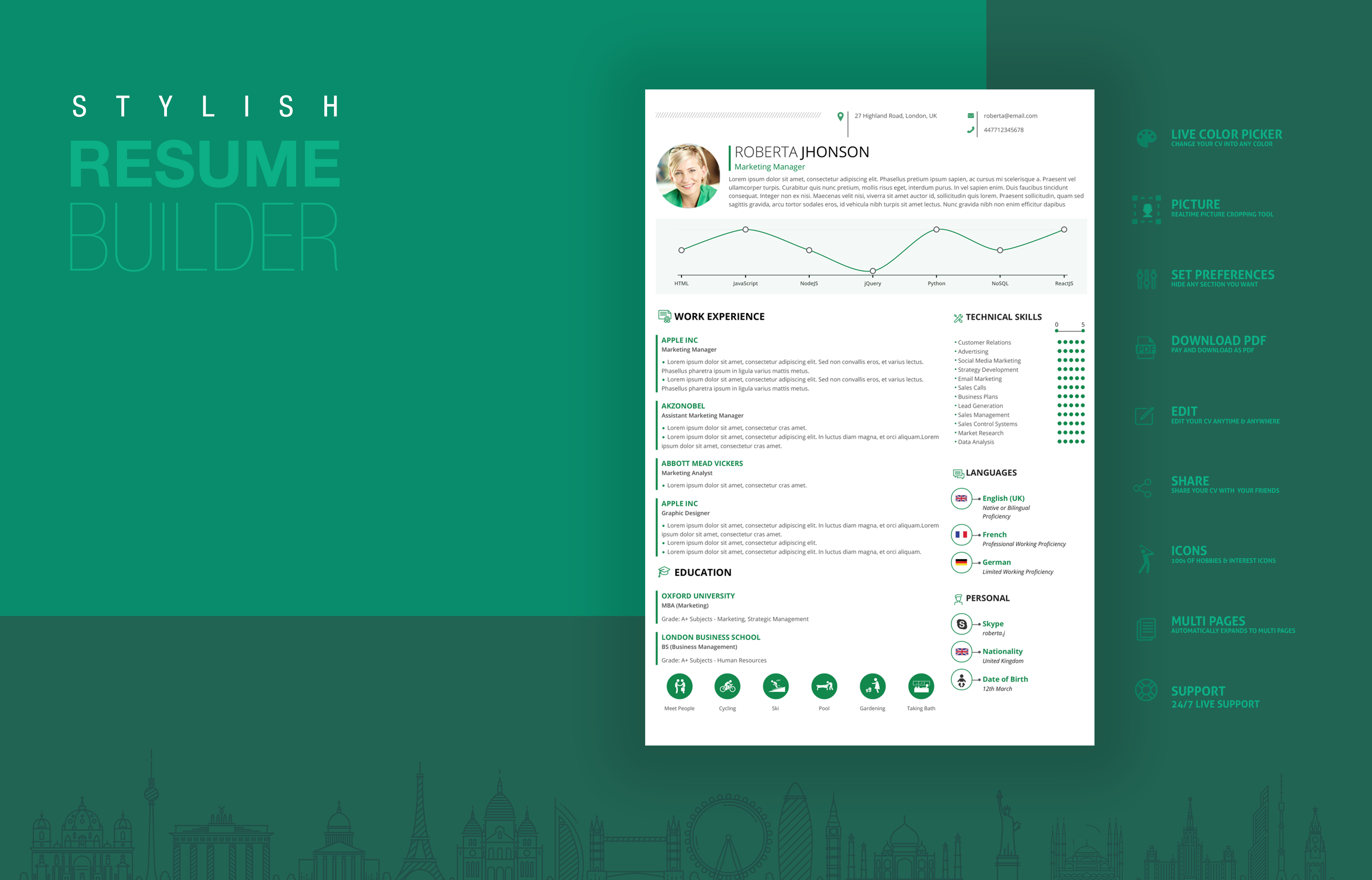 Stylish Resume Builder is a general purpose resume builder