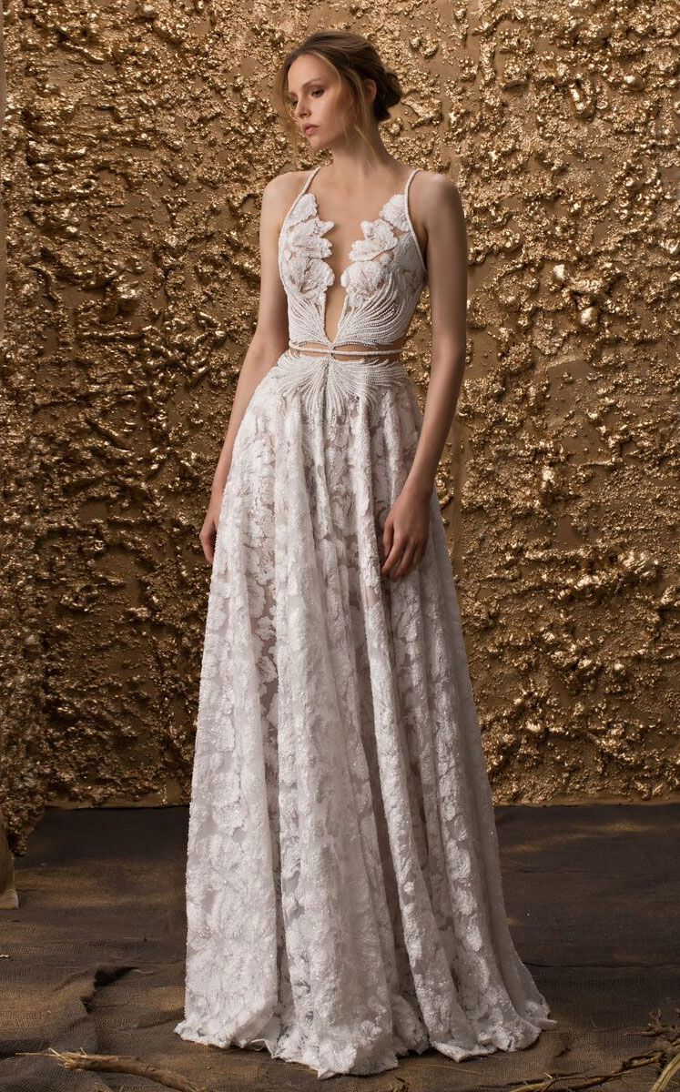 fed6bc636ba3 Nurit Hen Wedding Dress 2018 Collection 'Golden Touch' Beautiful V-Neck  Dresses , Plunging Neckline Wedding Dress,deep plunge neckline wedding dress ,wedding ...
