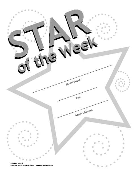 Education World Star Of The Week Award Template South Korea Esl