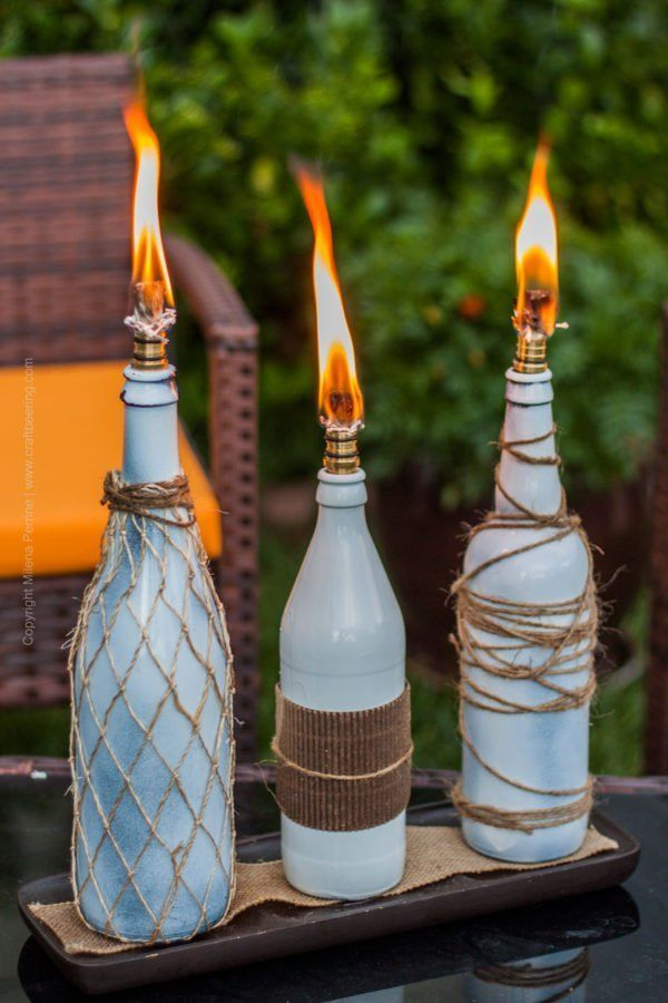 Beer Bottle Tiki Torches - Create Ambiance & Keep Mosquitoes Away#ambiance #beer #bottle #create #mosquitoes #tiki #torches