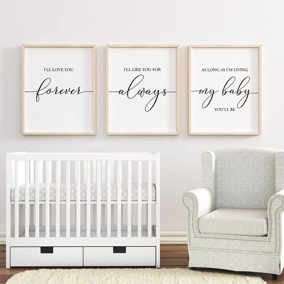 I'll Love You Forever Printable Art, Nursery Wall Art, Nursery Decor, Baby Shower Gift, Baby Girl Nursery, Baby Boy Nursery, Set of 3