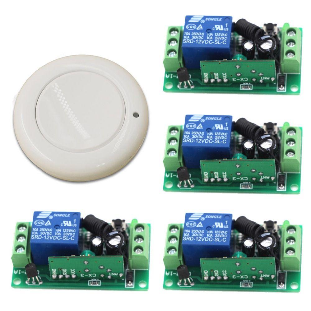 New Dc 9v 12v 24v 1ch Remote Control Relay Switch 1pcs White Transceiver With 4pcs Receiver Wireless Remote Control 315 Remote Control Light Accessories Remote