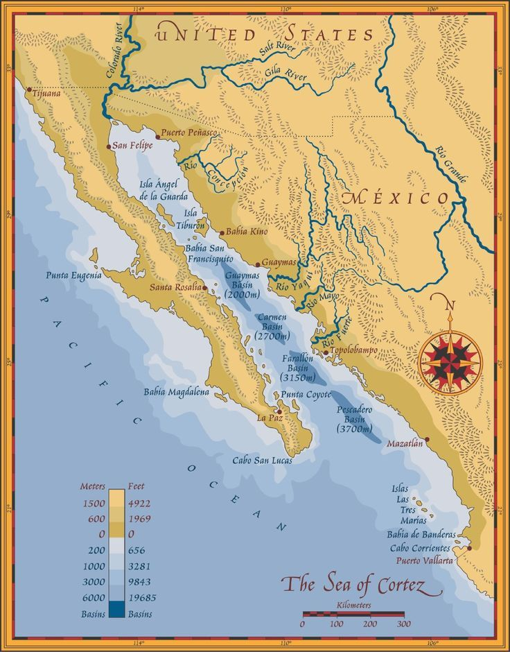Map of the Sea of Cortez showing Baja California and the Sonoran ...