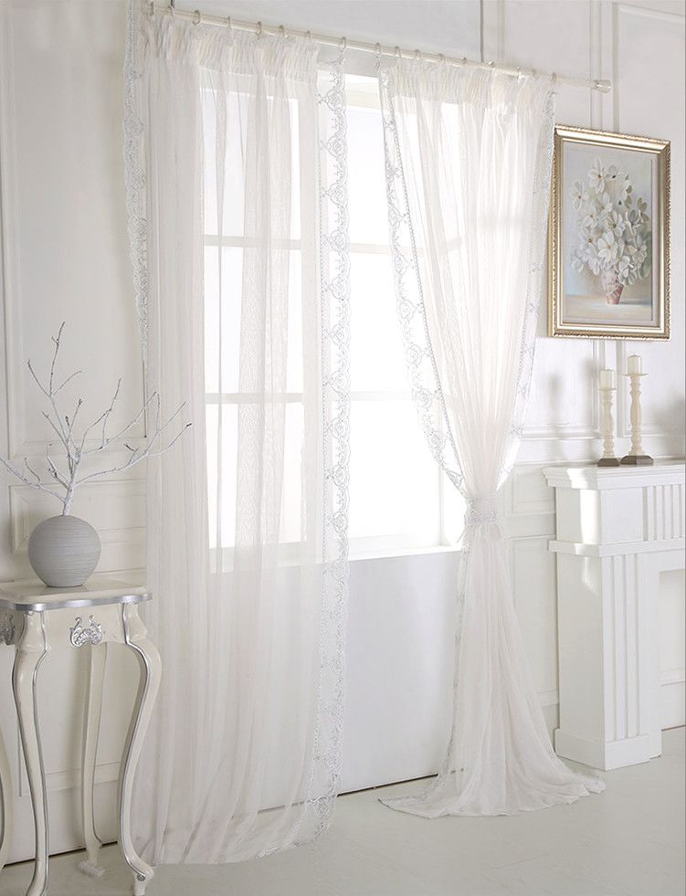 French Romantic Curtains White Embroidered Lace Bedroom Floating