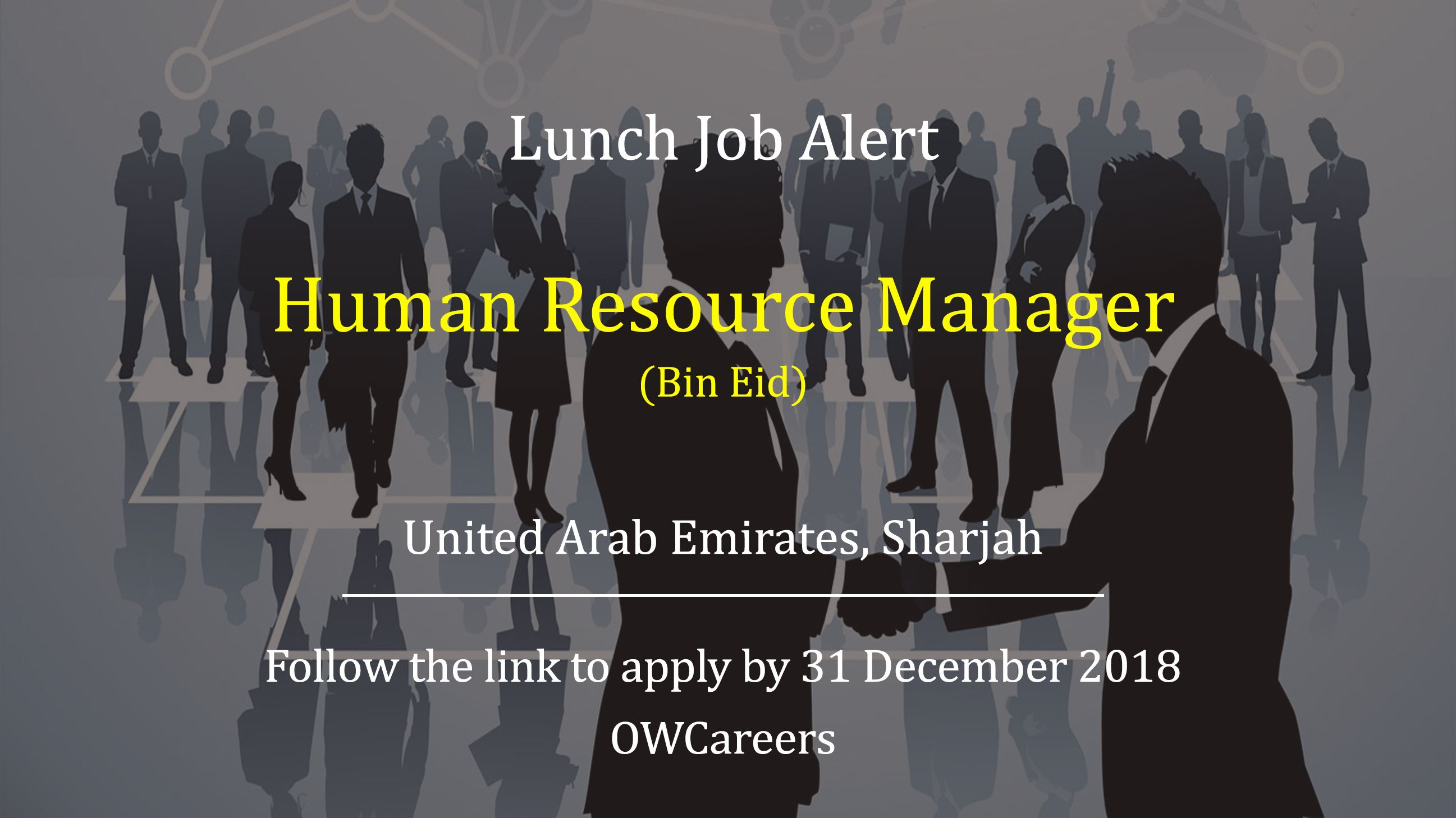 Human Resource Manager Job is available with Bin Eid in