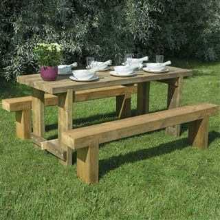 Garden Seating Ideas Refectory Table And Two Benches Wooden Garden Seating Garden Picnic Table Garden Table Wooden Garden Table Garden Furniture Sets