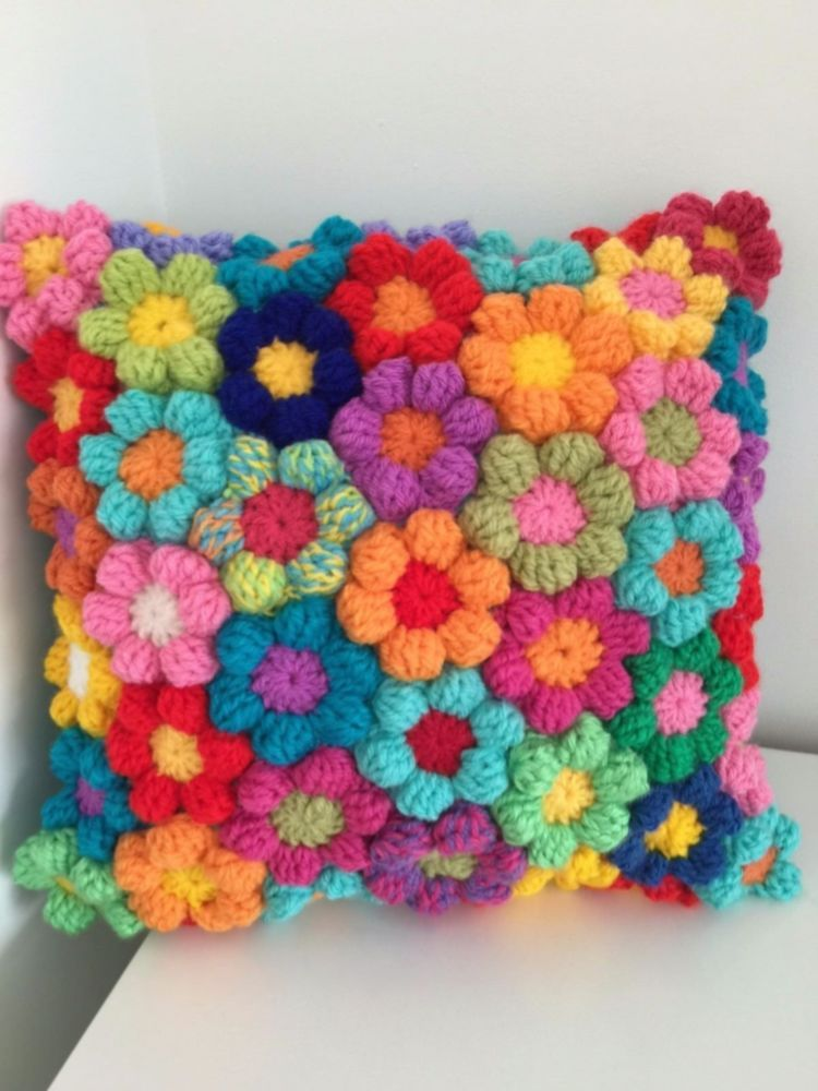 Cushion Rainbow Crochet Flowers Stunning Hand Made