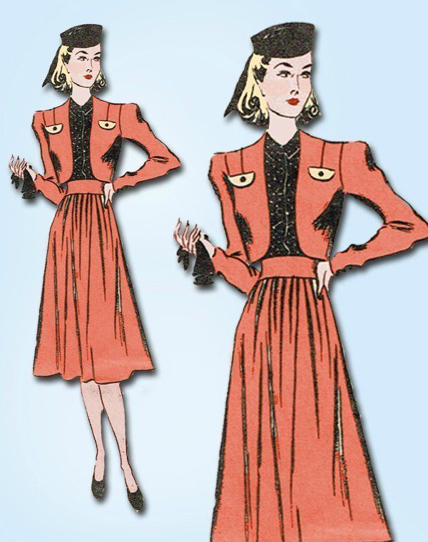 1940s Vintage WWII Dress  Bolero Paris Fashion Service Sewing Pattern Sz 34 B #FashionServiceMailOrder