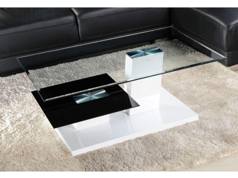 Table Basse Debora Ii Verre Trempe Et Mdf Laque Banc Et Noir