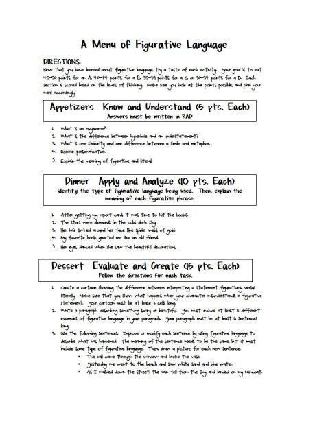 Figurative Language Learning Menu Figurative Language Figurative Language Middle School Language Worksheets 7th grade figurative language worksheets