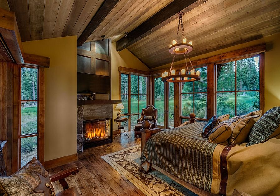 Marvelous Cabin Style Bedroom Part - 14: Woodsy Cabin Style Bedroom With A Fireplace - Decoist