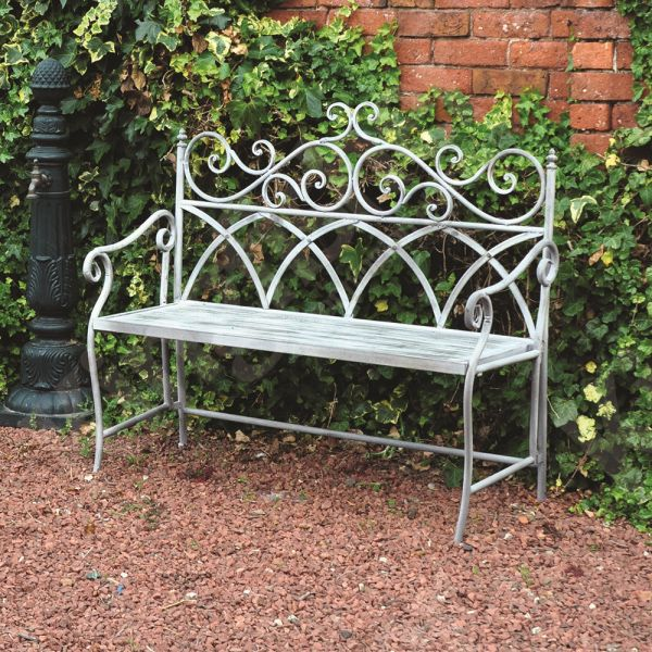 Grey Vintage 2 Seater Wrought Iron Bench The Uk S No 1 Garden