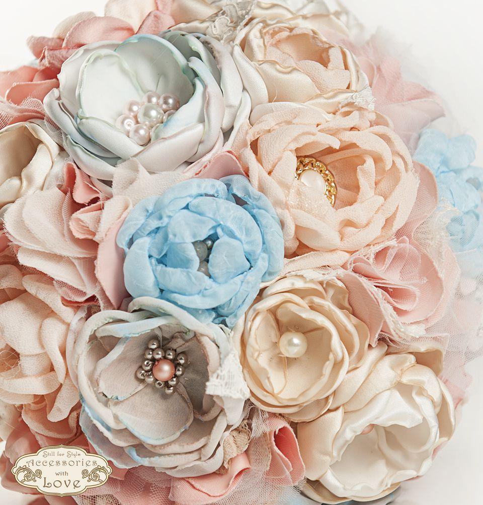 Buchet mireasa pastel de primavara nunta pinterest flower wedding bouquet blue peach and pink fabric flower by stillforstyle izmirmasajfo