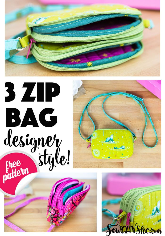 Triple Zipper Bag – Free Sewing Pattern with a Tutorial! — SewCanShe | Free Sewing Patterns and Tutorials