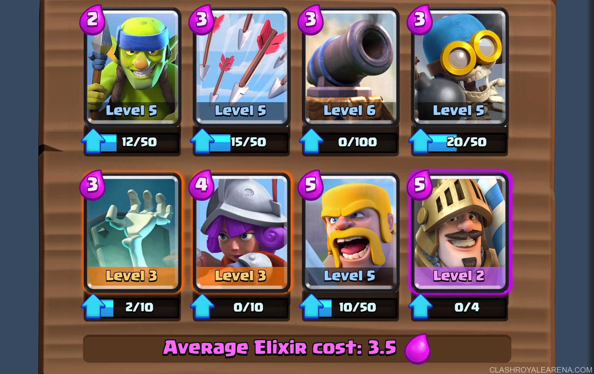 Arena 5 Deck Easy 1500 Trophies At Level 5 Clash Royale Clash Royale Deck Clash Royale Building A Deck