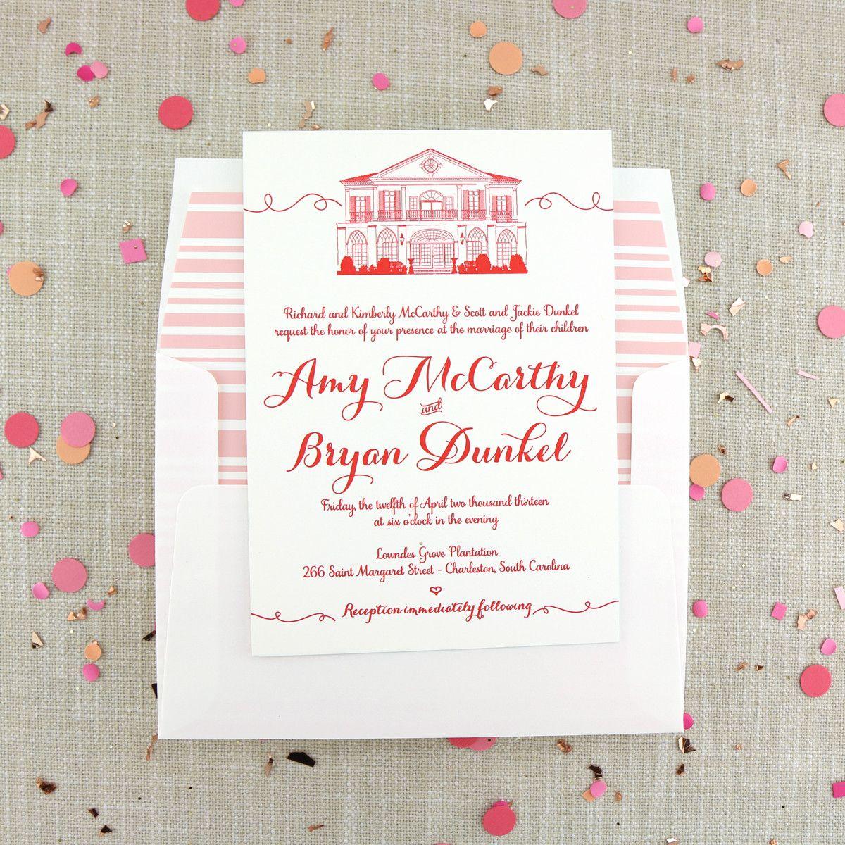 Letterpress Lowndes Grove Invitation   Paper Pretties by Scotti ...
