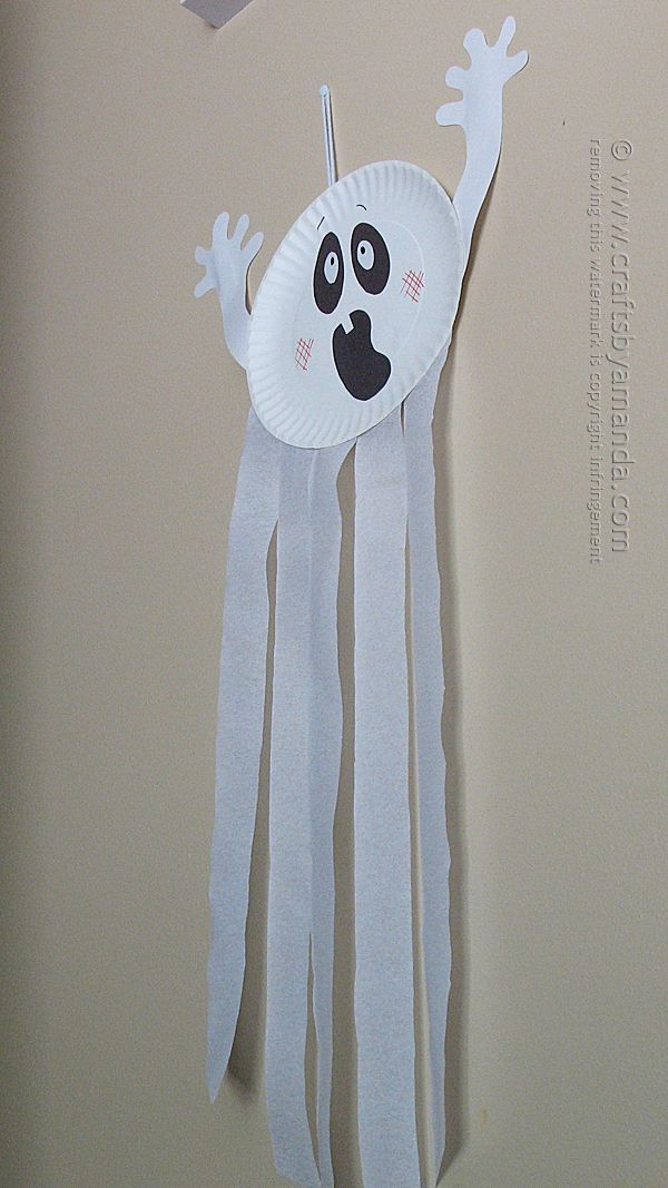 Paper Plate Ghost Craft #halloweendoordecor
